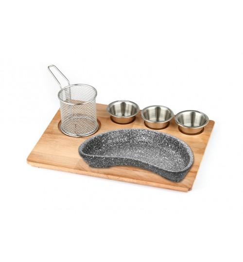 Döküm Böbrek Fajita Tavası Doğal Masif Ahşap Üzerine Granit Döküm Set / Kod:151 05