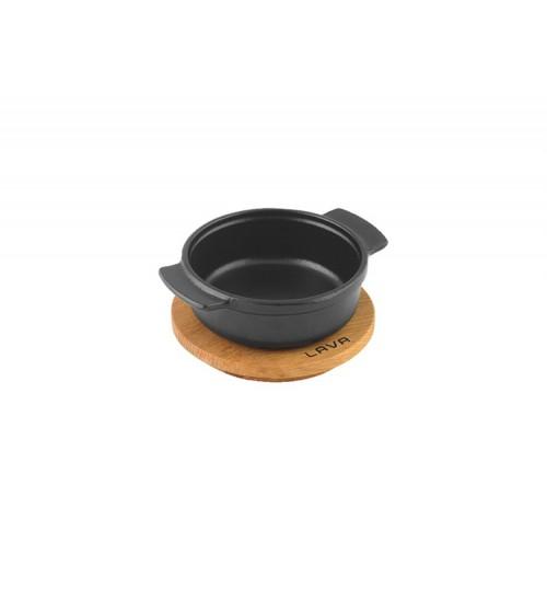 Lava Ahşap Altlıklı Döküm Demir Güveç Kabı Çap(Ø) 11 cm