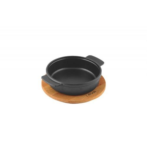 Lava Ahşap Altlıklı Döküm Demir Güveç Kabı Çap(Ø) 14 cm