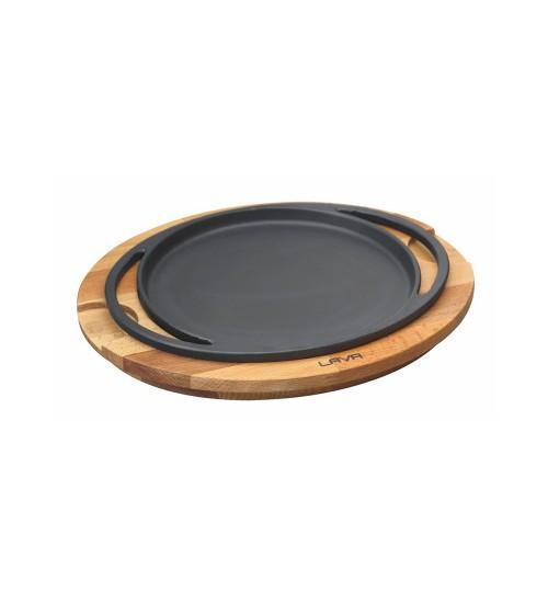 Lava Ahşap Altlıklı Döküm Demir Yuvarlak Pizza / Krep / Pankek Tavası Çap (Ø) 28 cm