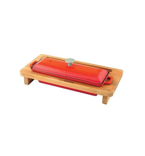 Lava Ahşap Standlı Döküm Demir  Terrine, Ekmek Kabı 8,5×26,5 cm